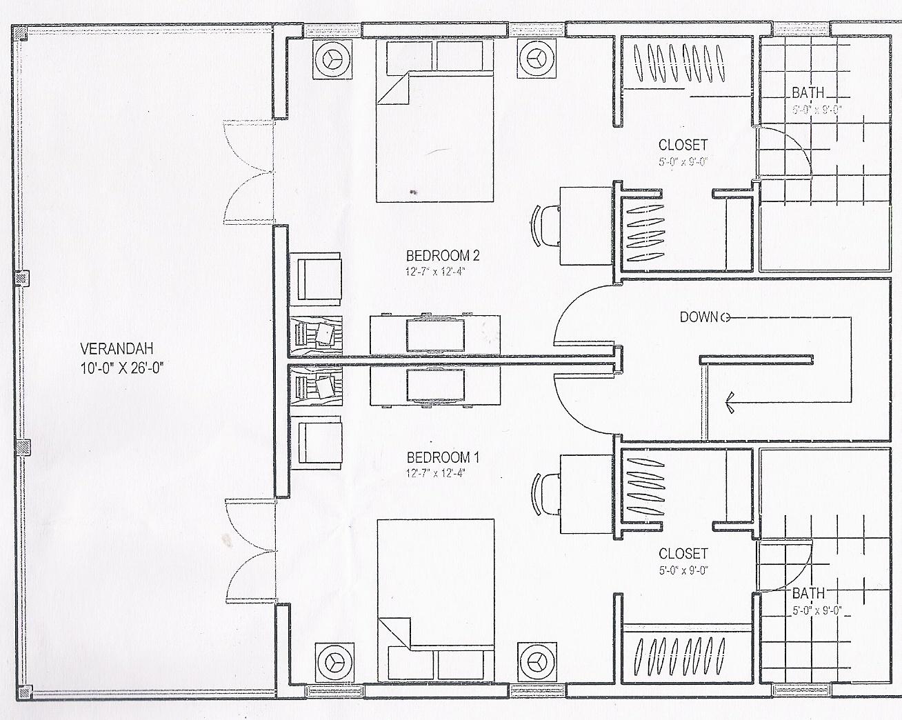 Upstairs Drawing of Condo
